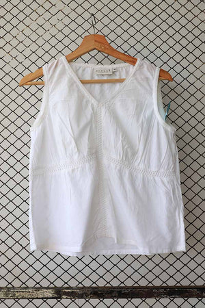 White Bodice Panelled Cotton Blouse
