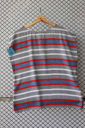 Colour Block Striped Pattern Retro Top (Brand: Taifun)