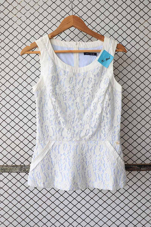 White Lace Peplum Sleeveless Blouse