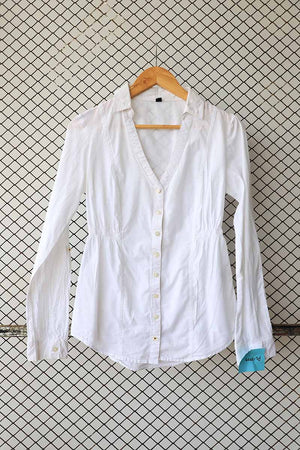 White Cotton Cinched Waist Button Down