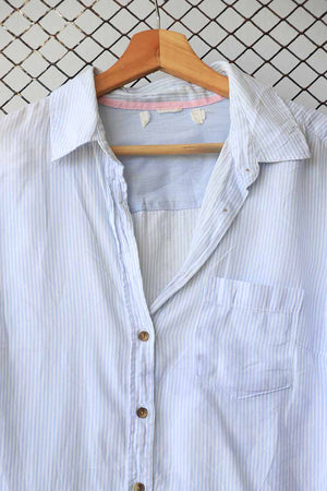 Crinkle Button Down With Elbow Patches