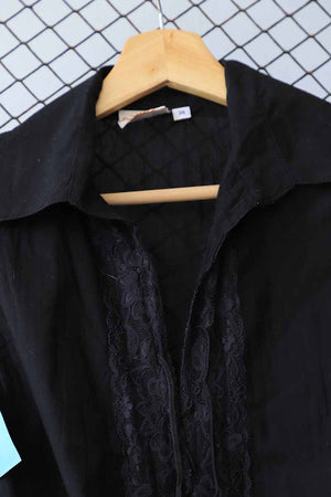 Black Sleeveless Lace Detail Bohemian Blouse (Brand: Flash)