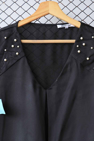 Black Pearl Shoulder Detail Blouse