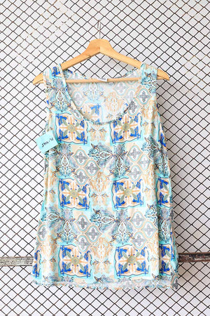Sleeveless Shades of Blue Tribal Blouse (Brand: Casual Ladies)