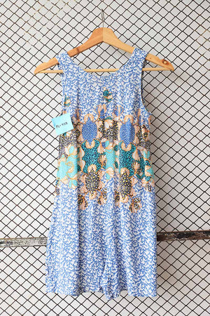Shades of Blue Printed Abstract Sleeveless Dress Top (Brand: Zara Junior)
