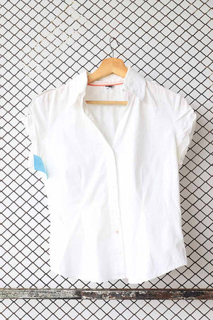 White Short Cotton Blouse