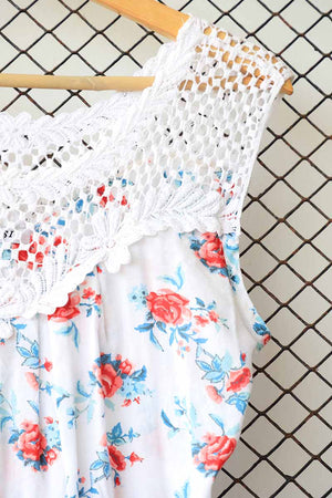 Floral Lace Upper Insert Detail Blouse