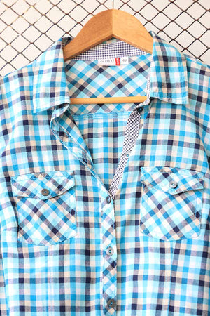 Shades of Blue Checkered Button Down (Brand: Outfit)