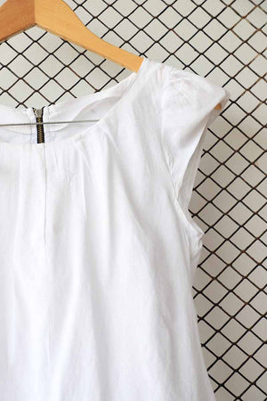 White Cap Sleeve Zipper Back Blouse