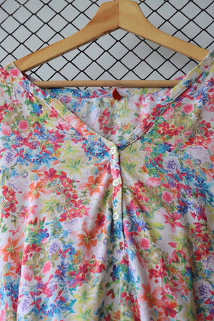 Floral Ruched Waist Summer Blouse