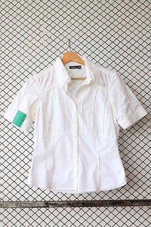 White Pin Tuck Panel Detail Blouse