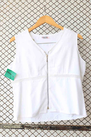 White Zipper Down Linen Blouse (Brand: Paris City Mode)