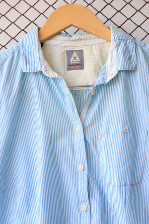 Blue Short Sleeved Striped Blouse