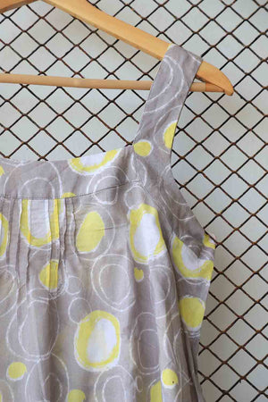 Lemon and Grey Detail Strappy Cotton Blouse
