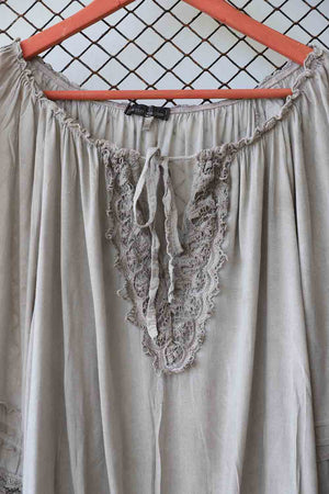 Grey Embroidered Ruched Waist Top