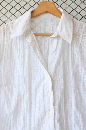 White Self Print Short Sleeved Blouse