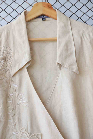 Beige Floral Embroidered Tie Detail Blouse