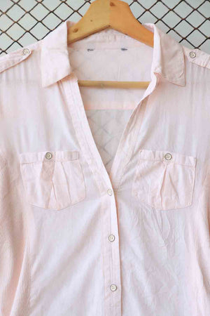 Pink Military Pocket Button Down
