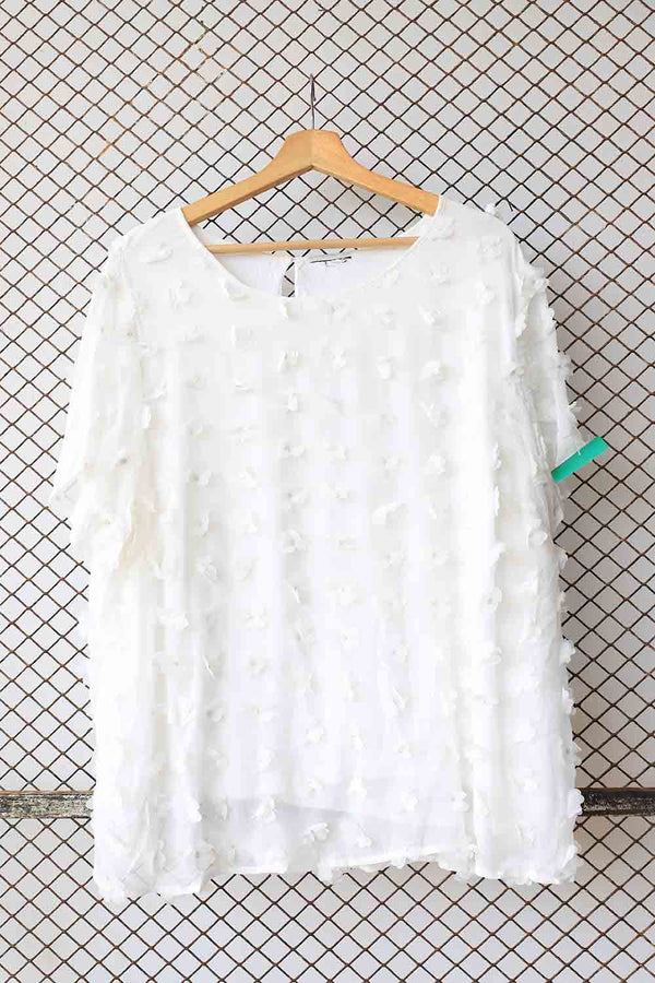White Self Embossed Ruffle Chiffon Top