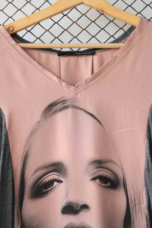 Pink Sketch Print Fashion Blouse (Brand: ATOS)