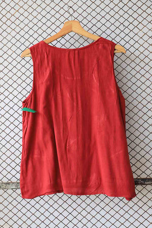 Brick Red Sleeveless Blouse with Beaded Details