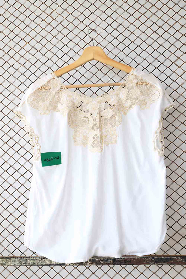 White Lace Back Detail Summer Blouse (Brand: Andree)