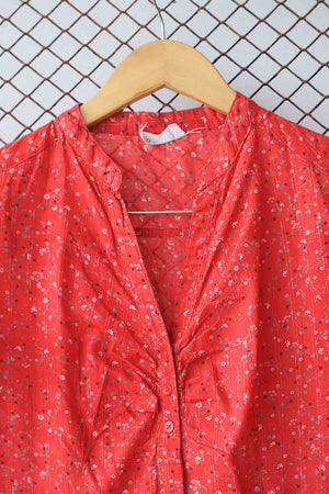 Red Floral Summer Blouse