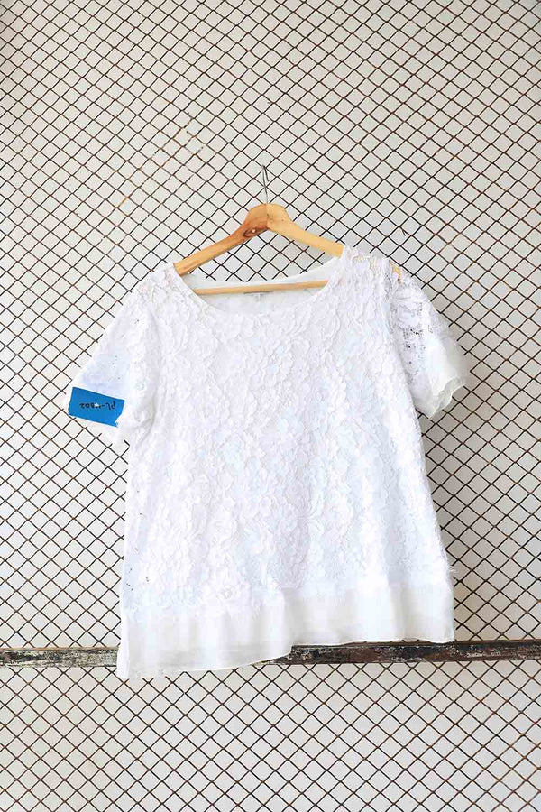 White Lace Detail Blouse