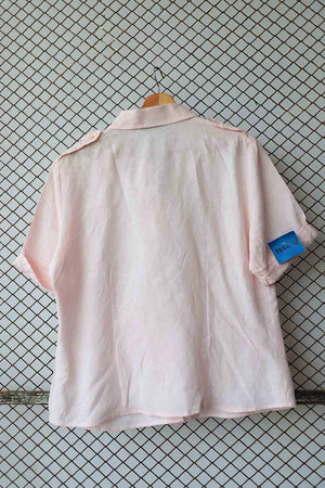 Pink Linen Upturned Sleeves Button Down (Brand: Claude)