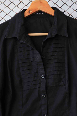 Black Cotton Pin Tuck Blouse