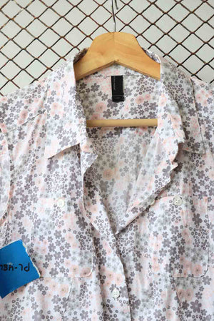 Grey and Pink Floral Blouse (Brand: Vero Moda)