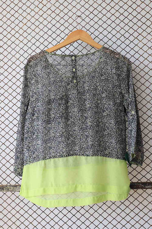 Lime and Monochrome Fashion Sheer Blouse (Brand: S.Oliver)