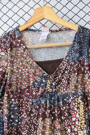 Brown Retro Print Blouse