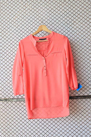 Peach Crepe Fashion Blouse