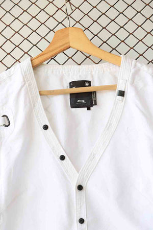 White Cotton Blouse with Black Statement Buttons