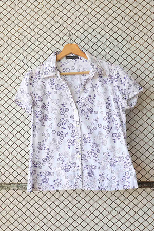 Purple Retro Florals Blouse