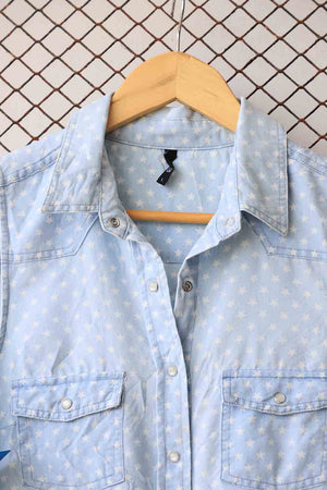 Polka Dotted Knot Denim Top