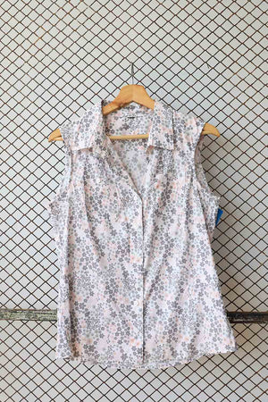 Grey and Pink Floral Retro Summer Blouse