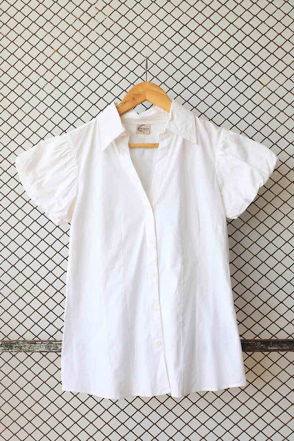 White Cotton Puff Shoulder Blouse