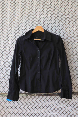 Black Cotton Button Down