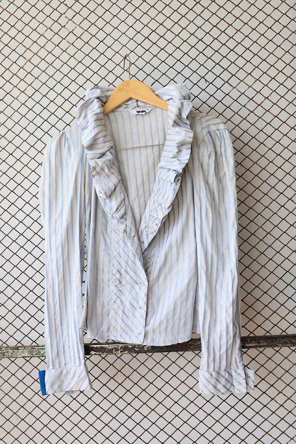 Striped Ruffe Front Blouse