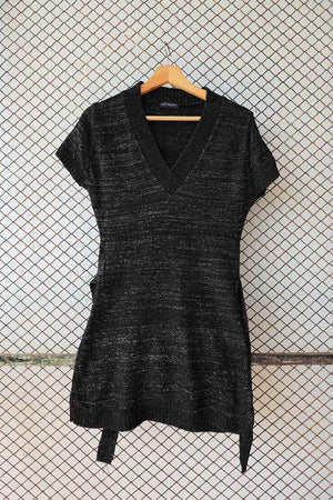 Black Glitter Stretchh Tie Waist Sleeveless Sweater