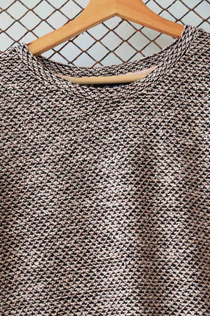 Textured Cream and Black Sweater