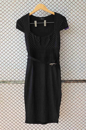 Black Pin Striped Belted Waist Dress