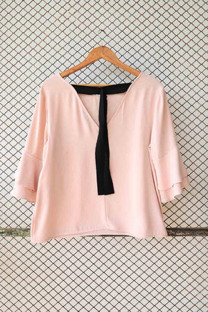 Pink Silk With Black Ribboning Detail