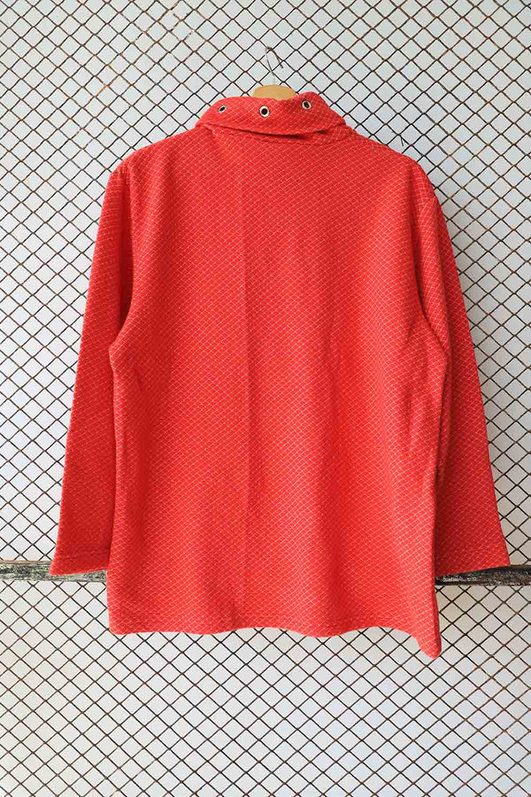 Red High Neck Key Loop Knit Top