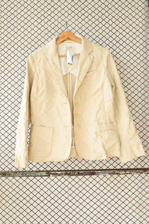 Cream Textured Linen Jacket (Brand: Toast)