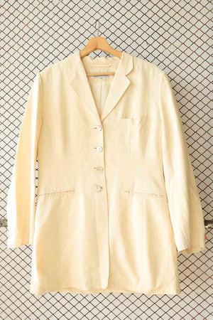 Cream Button Down Linen Jacket