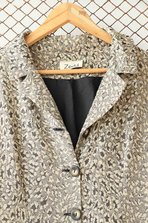 Beige Textured Long Fashion Jacket