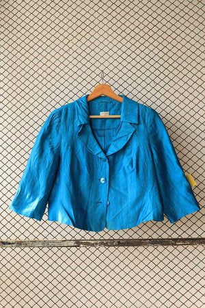 Blue Short Silk Bolero
